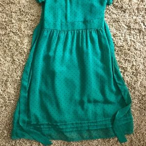H&M Dresses - H & M green with black polka dot dress size 36 S